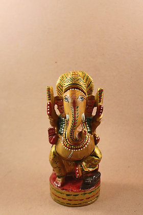 Wooden Ganesha Carved ( Fine Painted )  PRODUCT CODE - 0101