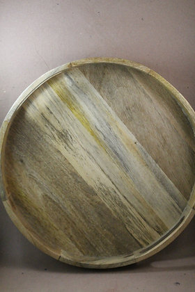 Wooden Serving Tray Round Natural Finish PRODUCT CODE - 0305