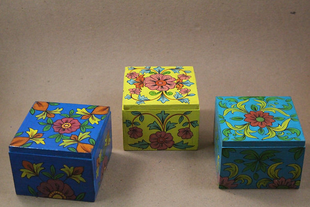 Wooden Storage Boxes Fine Floral Hand Paint PRODUCT CODE - 310