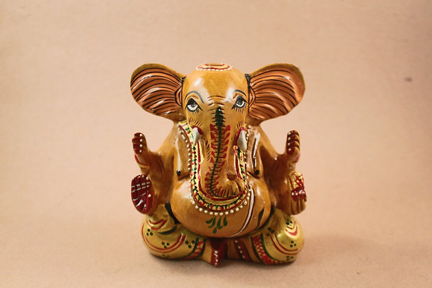 Wooden Ganesha Thick ( Fine Painted ) PRODUCT CODE - 0103