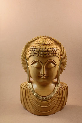 Wooden Buddha Bust ( Natural Finish ) PRODUCT CODE - 0107