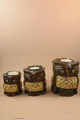 Wooden Owl Figure Work Tea Light ( Set of 3 )  PRODUCT CODE - 0205