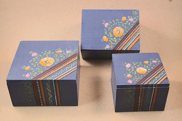 Wooden Storage Box Set of 3 ( Floral - Matt Finish )  PRODUCT CODE - 0177