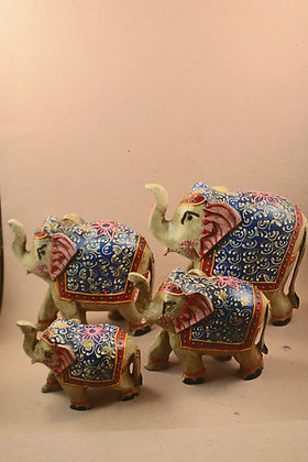 Wooden Elephant Trunk Up / Down Embossed Painting ( Set )PRODUCT CODE - 0111
