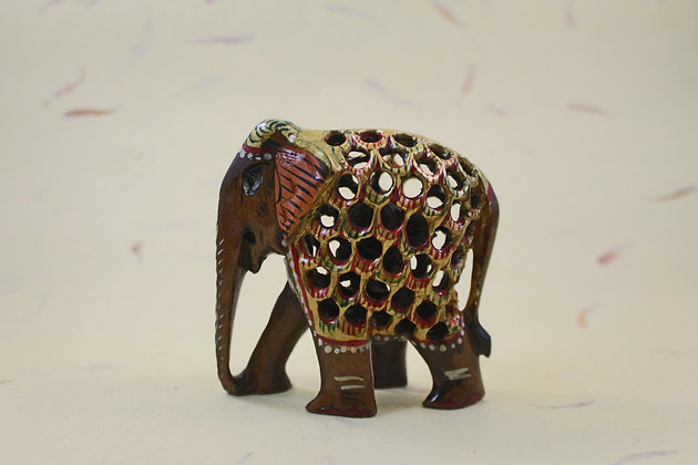 Wooden Elephant Undercut -Painted   PRODUCT CODE - 0121