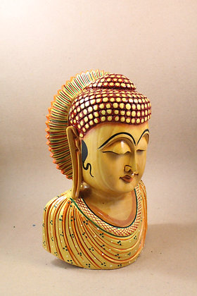 Wooden Lord Buddha Bust Painted PRODUCT CODE - 0302
