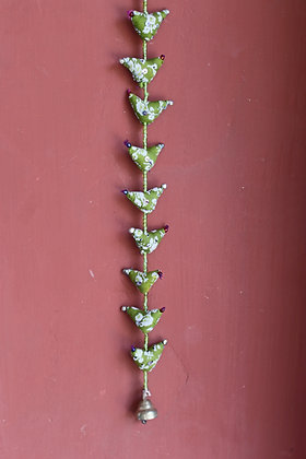 Printed Cloth 9 Birds Hanging ( Green Indigo) PRODUCT CODE - 0139