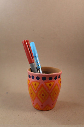 Terracotta Stationery Jar Painted PRODUCT CODE - 0153