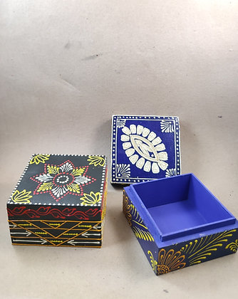 """Wooden Storage Box 4 x 4 """" Embossed Painted PRODUCT CODE - 0325"""