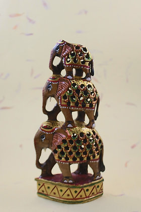 Wooden Elephant/ Camel Pyramid Painted   PRODUCT CODE - 0122