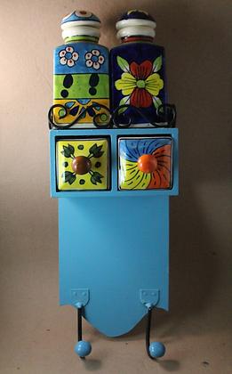 2 Drawer Wooden Kitchen Cabinet  W/ 2 Ceramic Jar & Hook  PRODUCT CODE   - 0270