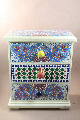 Wooden Hand Painted Mosaic Work Three Drawers PRODUCT CODE -313