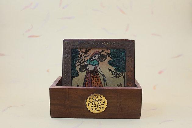 Gem Stone Painting Coaster Set of 6  PRODUCT CODE - 0200