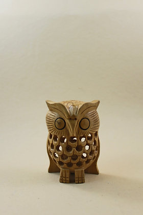 Wooden Owl Undercut Painted / Natural  PRODUCT CODE - 0118