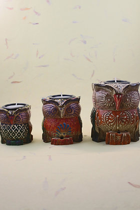 Wooden Owl Tea Light Painted  PRODUCT CODE - 0215