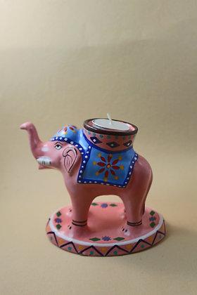 Paper Mache Elephant Tea Light Holder Painted  PRODUCT CODE - 0256
