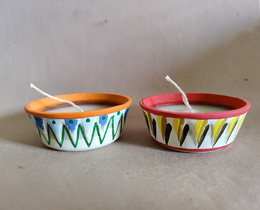 Terracotta Shape Candles Painted PRODUCT CODE - 0333