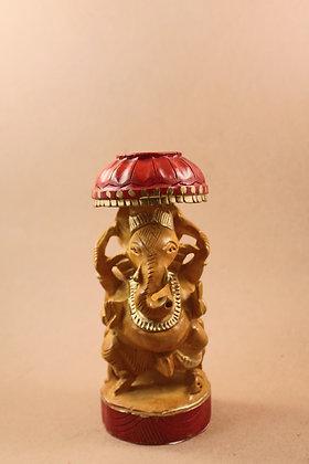 Wooden Ganesha W/ Umbrella Painted  PRODUCT CODE - 0102