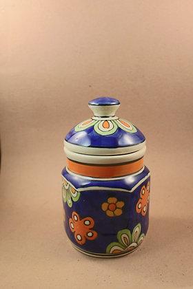 Ceramic Storage Jar Painted  PRODUCT CODE - 0235