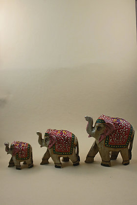 Wooden Elephant Set of 3 Painted ( Antique Embossed ) PRODUCT CODE - 0115
