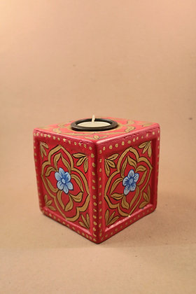 Paper Mache Cube Tea Light Holder Painted  PRODUCT CODE - 0244