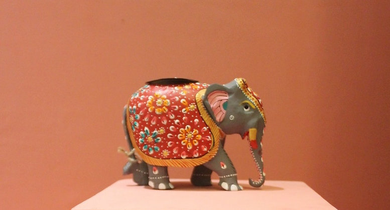 Wooden Painted Elephant Tealight Holder PRODUCT CODE - 0330