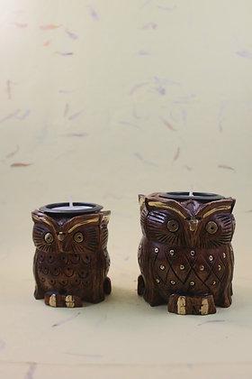 Wooden Owl Tea Light Natural Finish  PRODUCT CODE - 0214