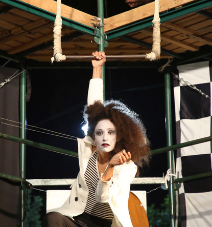 Yael Halfon, a trapeze artist, in 'Cafe Tav'
