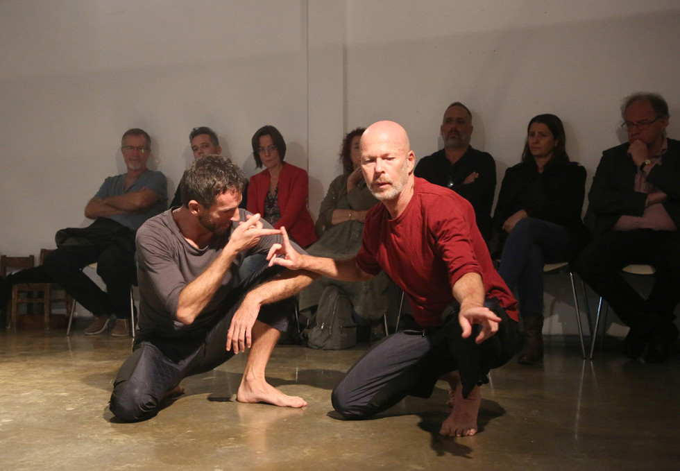 Avi Kaiser and Sergio Antonino in 'Not Every Island Is Surrounded by Water', performed in Givatayim City gallery, 2020