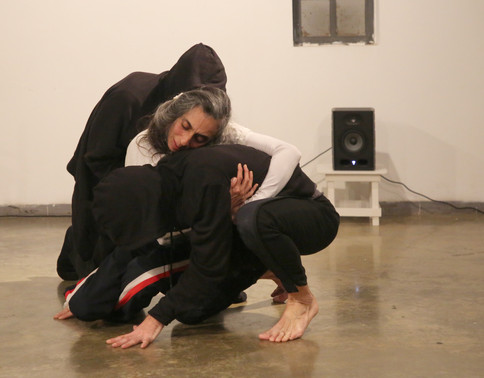 Avi Kaiser and Sergio Antonino in 'Not Every Island Is Surrounded by Water', in collaboration with Tamar Borer, performed in Givatayim City gallery, 2020