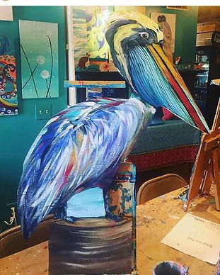 Wooden Pelican Pescado Y Amor