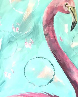 Mixed Media Flamingo Pescado Y Amor