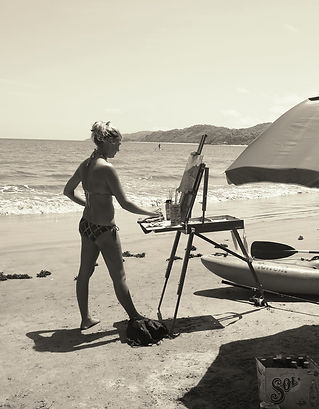 Missy Painting on her favorite Beach