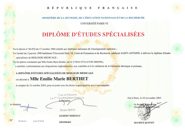 Certification in medical biologie
