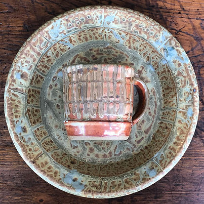 Pottery pie plate & mug