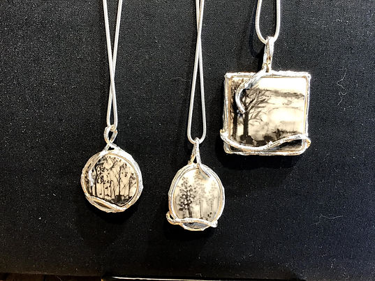 Sterling & Porcelain Pendants