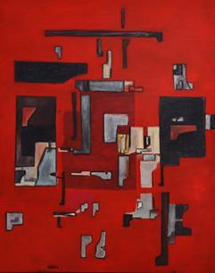 Coloquio en color rojo 2019 140x110 cm .