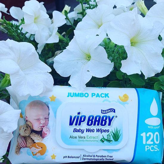 Vip Baby Вл. Салфетки для детей 120 шт с клапаном