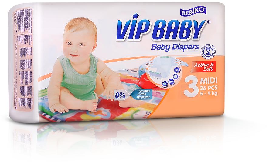 Подгузники VIP BABY MIDI (5-9кг) 36 штук