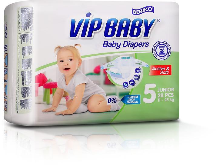 Подгузники VIP BABY JUNIOR (11-25кг) 28 штук