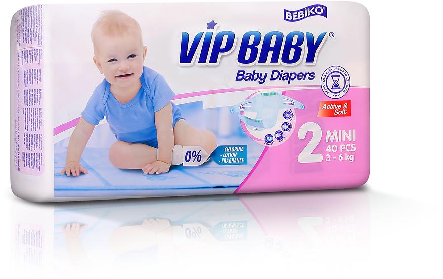 Подгузники VIP BABY MINI (3-6кг) 40 штук