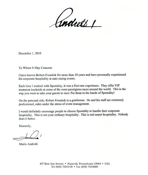 F1 Montreal Hospitality Mario Andretti Reference Letter
