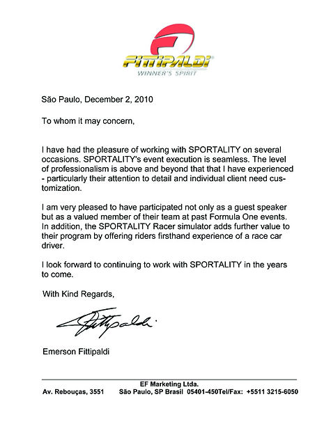 F1 Montreal Hospitality Emerson Fittipaldi Reference Letter