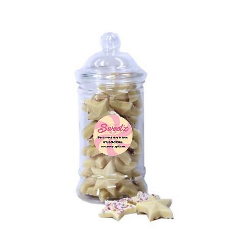 White chocolate star sweet jar