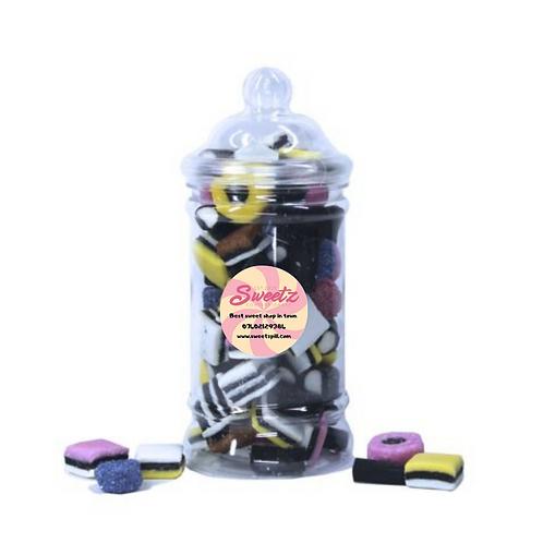 Liquorice allsorts sweet jar