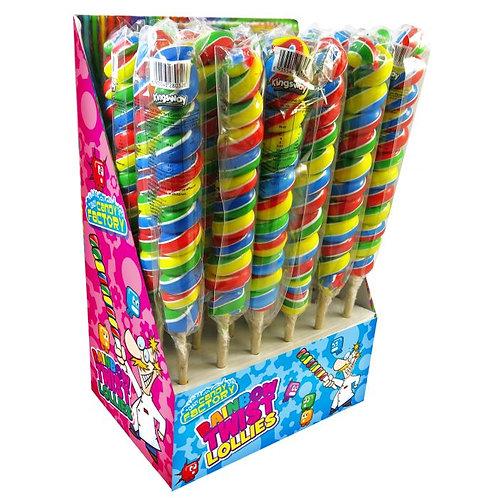Crazy Candy Factory Rainbow Twist Lollipops 55g