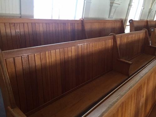Très grand banc de l'église (6 places) bois vernis