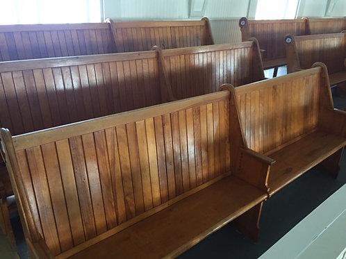 Grand banc de l'église (4 places) bois vernis