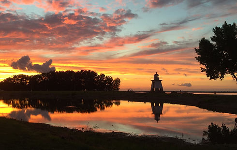port clinton light house early in the mo