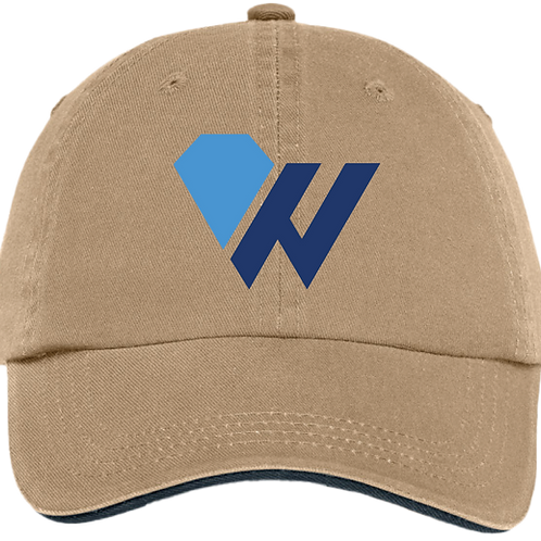 "Worthy ""W"" Cap - Sandwich Bill Cap with Striped Closure - Kahki/ Charcoal Blue"
